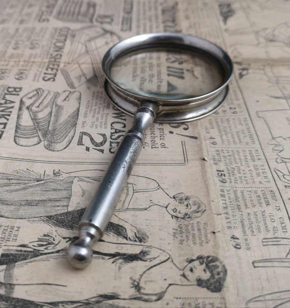 Antique magnifying glass, decorative brass, cased Edwardian magnifying glass