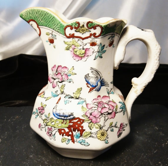 Antique ceramic jug / pitcher, Allertons, Burmese pattern, chinoiserie jug