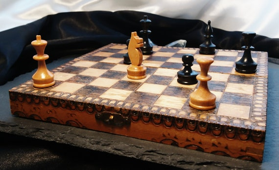 Antique chess set, miniature travel chess, pokerwork wooden case / board