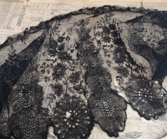 Antique lace length, black Victorian lace edging