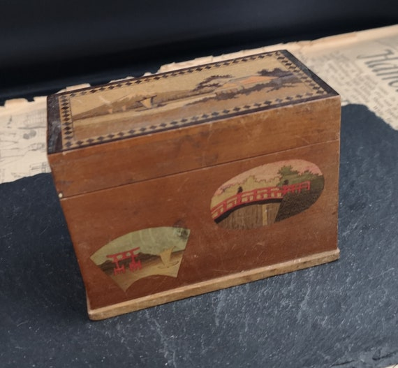 Vintage Japanese wooden card box, Treen