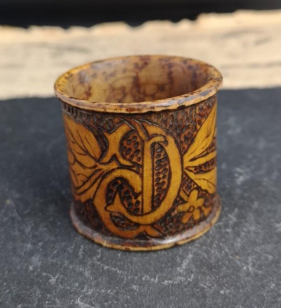 Antique pyrography napkin ring, Art Nouveau, D initial napkin holder