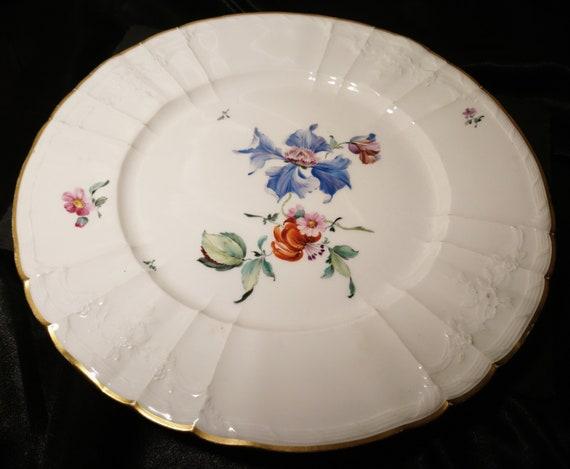 Antique floral plate, KPM Berlin, German porcelain, hand painted