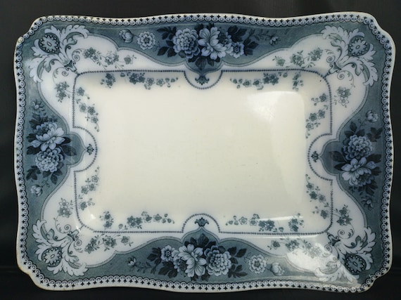 Antique flow blue platter, F and Sons, Victorian blue and white