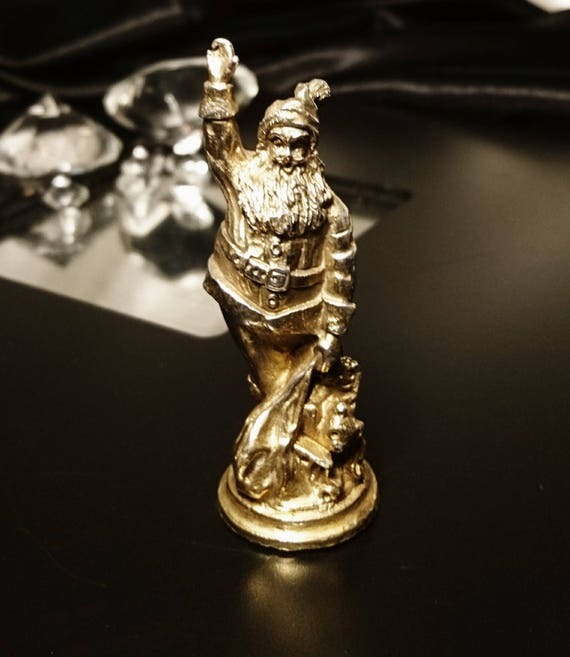 Vintage silver plated Santa Claus, gilded miniature father Christmas, St Nicholas