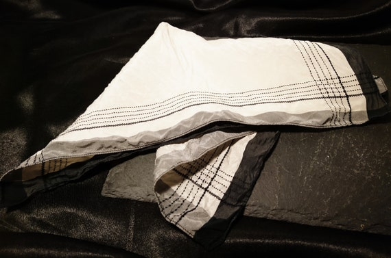 Gents 1920's silk handkerchief, black, grey and white, classic pocket hankie