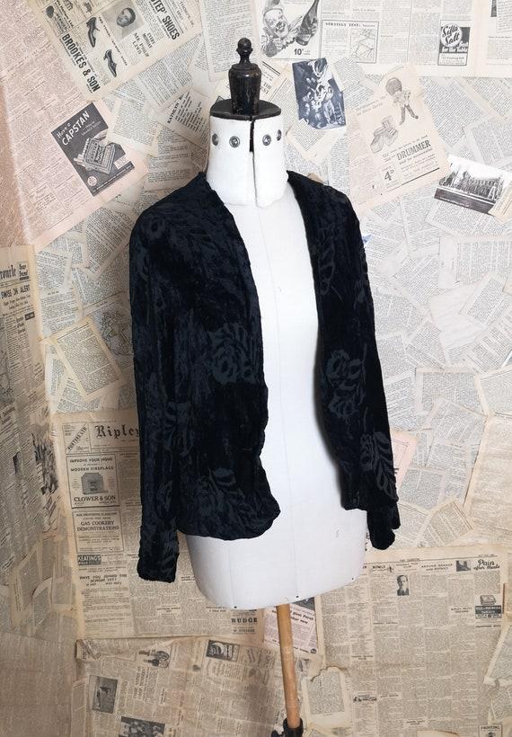 Vintage 20's burnout velvet opera jacket