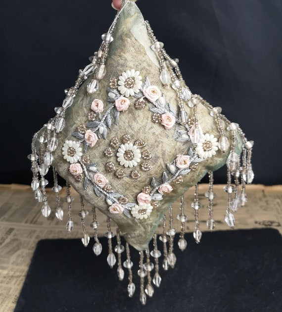 Vintage 20's French beadwork pomander, pot pourri cushion