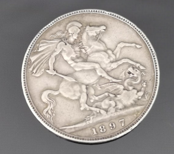 Victorian silver crown, George and the dragon, 1897, LXI, antique English coins
