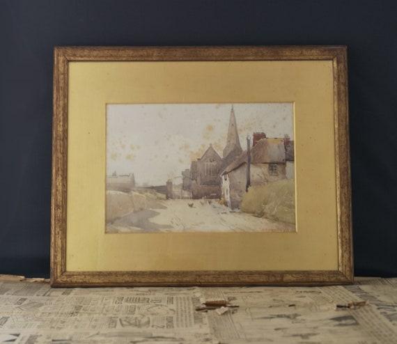 Antique watercolour painting, English Devonshire Village scene, C W Adderton