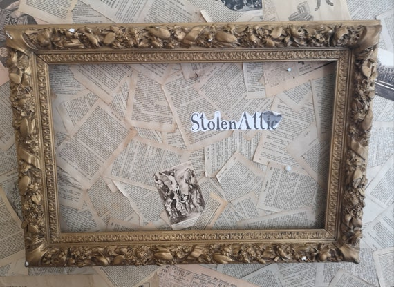 Antique gilt and gesso picture frame, large, early Victorian, home decor