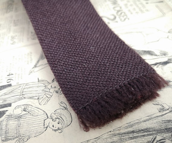 Vintage gents necktie, wool, straight edge, burgandy 1950s