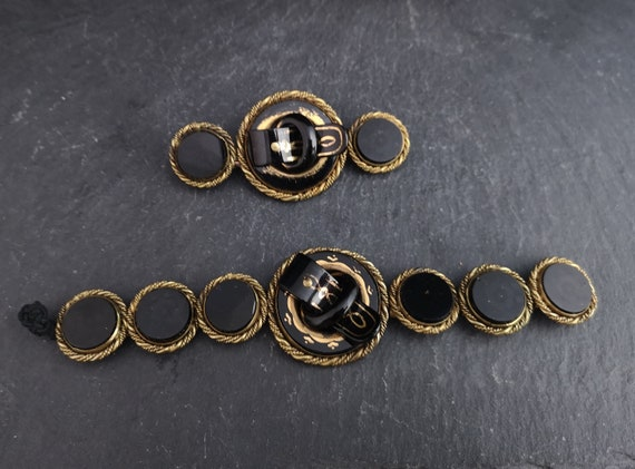 Antique buckle bracelet, Victorian buckle brooch, set