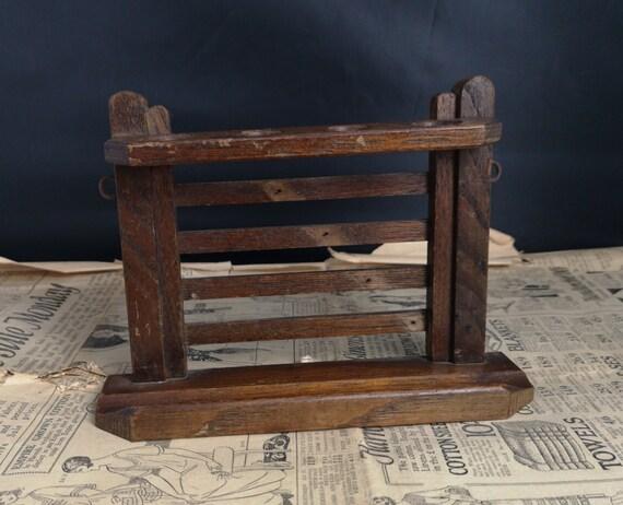Antique pipe rack, wall mountable, oak gate