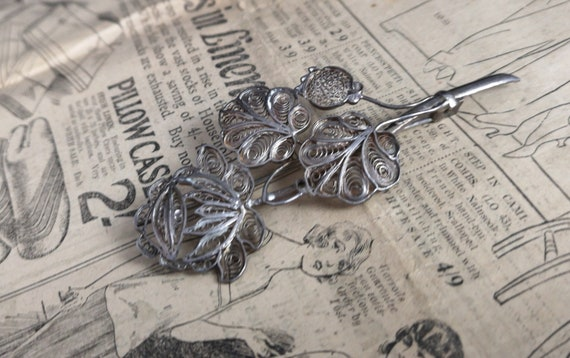 Antique silver filigree brooch, Victorian wirework, floral spray