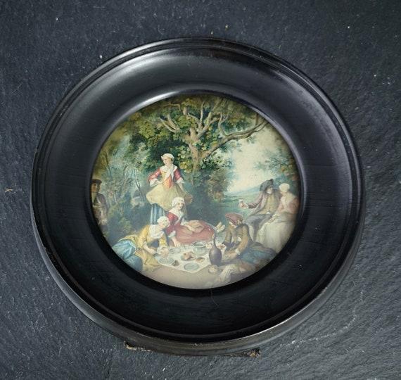Antique ebony frame, Victorian miniature frame
