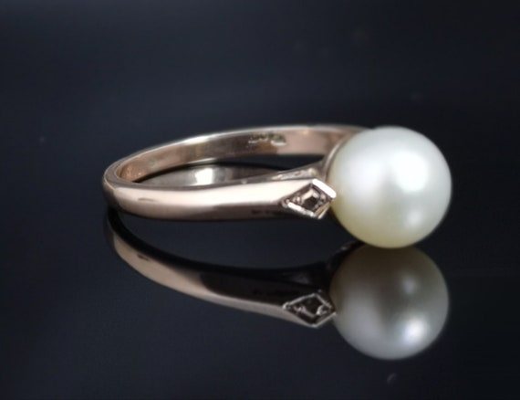 Antique pearl solitaire ring, Edwardian 9ct gold