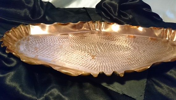 Antique copper tray, arts and crafts, rustic decor