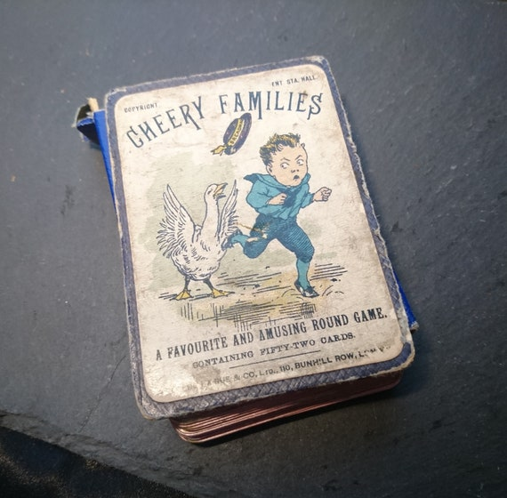 Antique card game, Victorian Cheery Families game, De La Rue