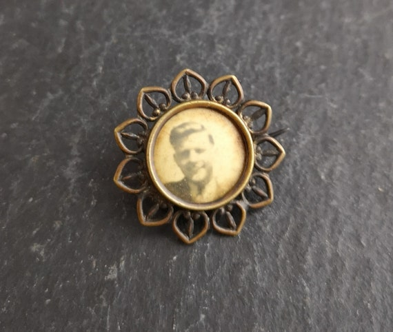 Antique Edwardian brass photo brooch, portrait pin