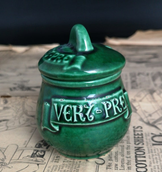 Vintage French mustard pot, green glazed, rustic