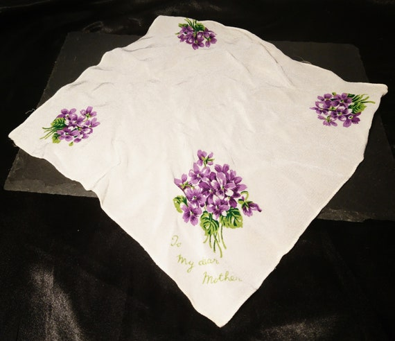 1940's silk chiffon handkerchief, WW2, mother handkerchief