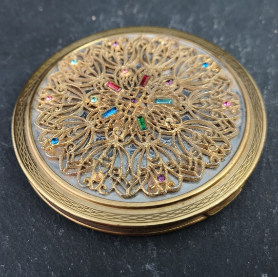 Vintage LeRage compact, large jewelled compact, 1950's