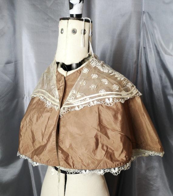 Antique silk Cape, Victorian toffee silk and cream silk lace