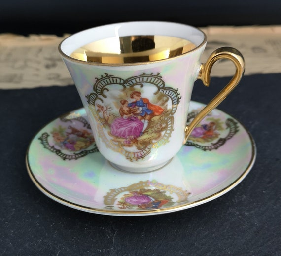 Vintage lustre China tea cup and saucer, Romantic, gilt porcelain, Alboth Kaiser
