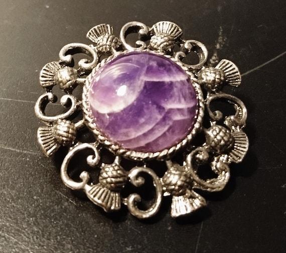 Vintage Scottish thistle brooch, purple agate, gunmetal grey metal