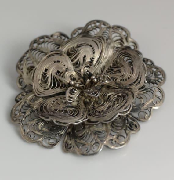 Vintage Mexican silver filigree brooch, flower