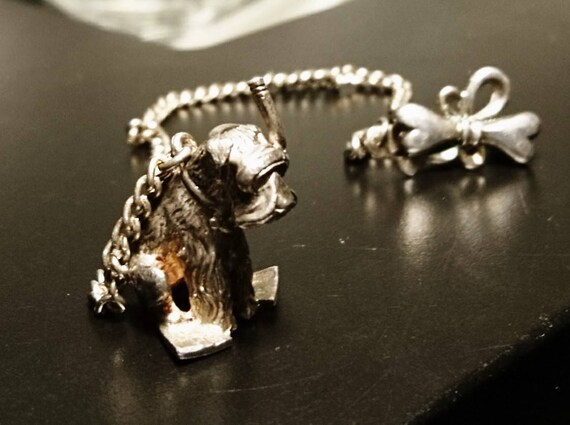 Vintage silver albertina, watch chain, novelty scuba dog, Russian