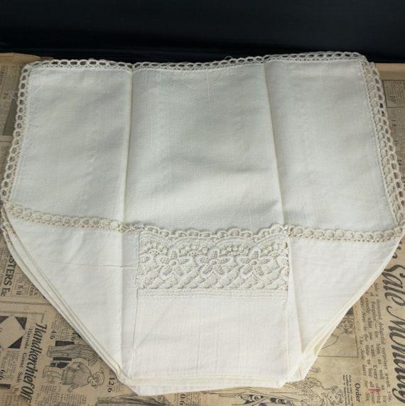 Vintage linen chair back covers, crocheted, antimacassars, set of 4