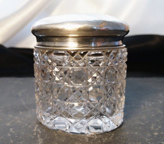 Antique cut crystal vanity jar, sterling silver lid, beautifully cut, dressing table pot