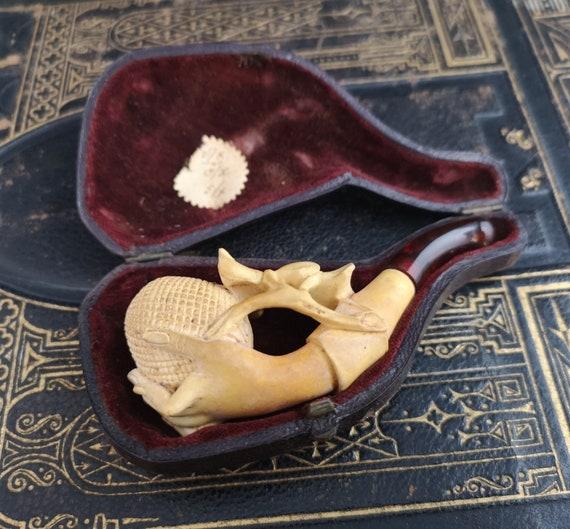 Antique meerschaum hand pipe, Amber stem, cased