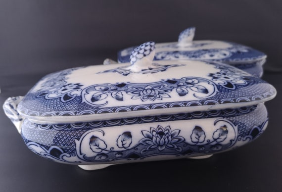 Antique tureens, flow blue, onion pattern, serving dishes