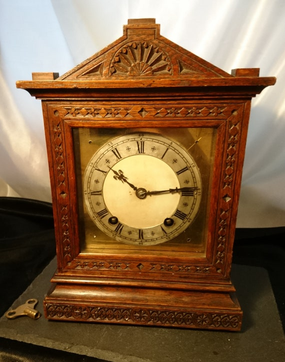 Antique oak cased mantle clock, quarter chiming, 19th century German clock, working with key