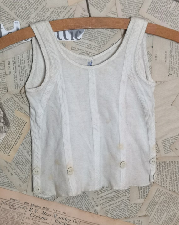 Vintage 1920's childs slip on vest, vintage kids clothing