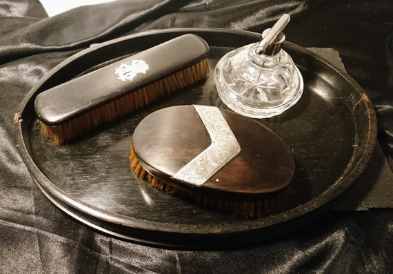 Men's antique vanity set, ebony and silver, tray, brushes, aftershave, Edwardian