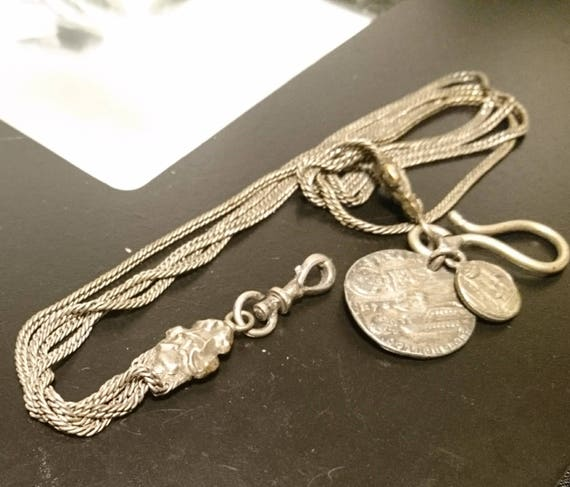 Antique silver chatelaine, antique ancient Roman silver chatelaine chain 1st century, Circa 505, very rare