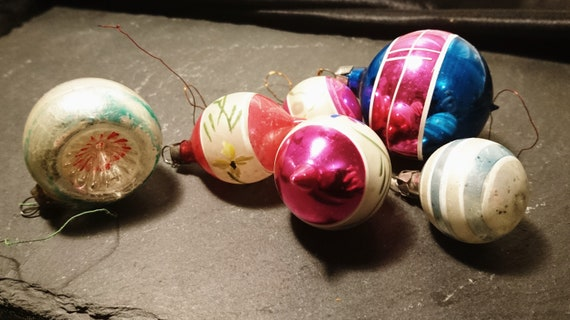 Antique Christmas baubles, blown glass, hand decorated, Christmas decorations