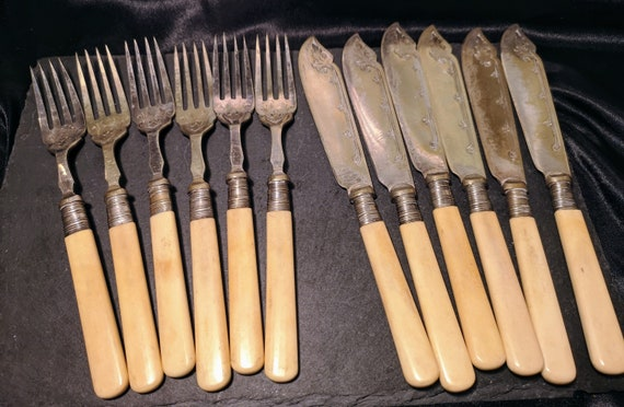 Antique distressed cutlery set, silver plate and bone, dessert forks and knives, antique flatware, 12pcs