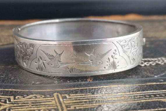 Antique Victorian silver bangle, aesthetic era swallows