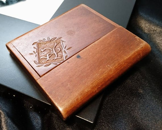 Antique card case, calling card case, monogrammed, wooden card case