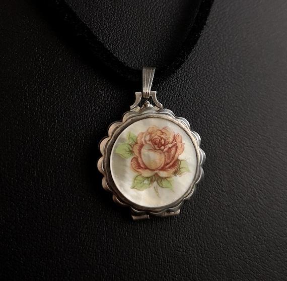 Vintage silver locket, mother of pearl, Rose - image 1