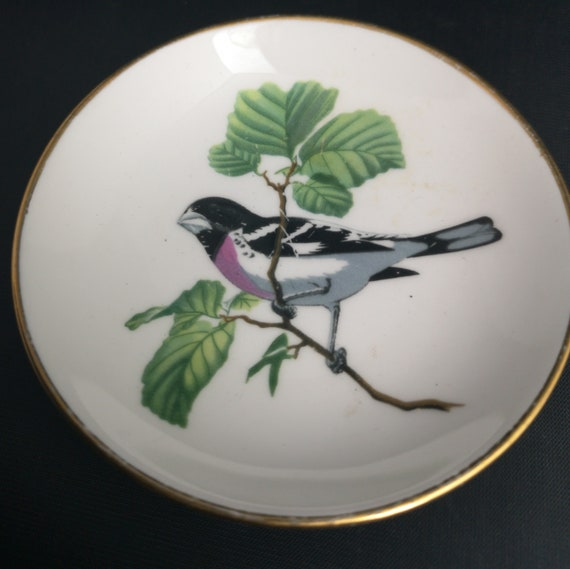 Vintage ceramic trinket dish, bird, Crown Staffordshire miniature plate