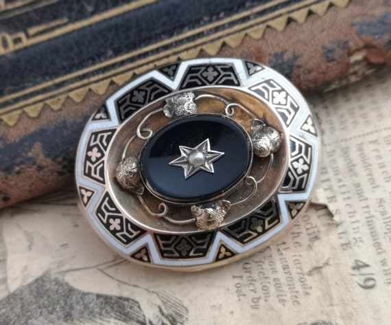 Antique mourning brooch, Victorian gold, enamel and pearl brooch