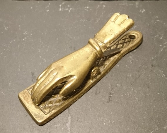 Victorian brass desk clip, novelty hand, antique solid brass, rustic decor