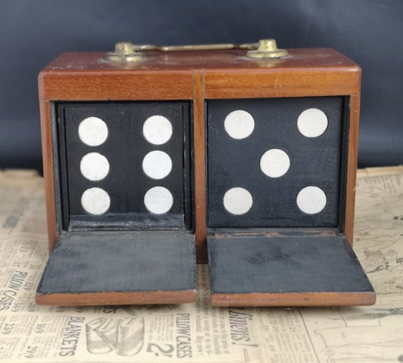 Antique magicians box, Victorian trick dice, conjuring, magic trick