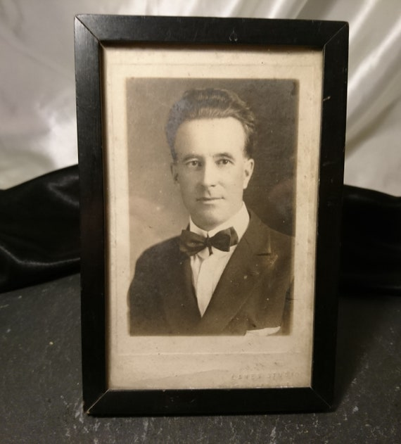 Antique photograph of a gentleman, original early photography, framed antique photo